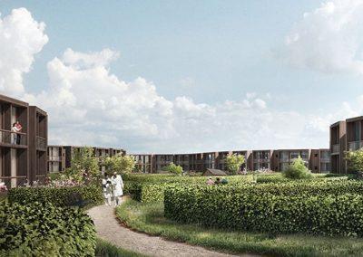 fremtidsbillede af grønt med bygninger