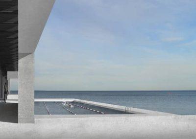 beton bygning med pool og hav