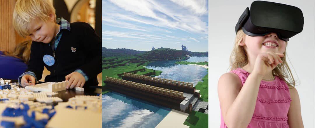 Børn bygger vilde, virtuelle broer i LEGO® og mincraft